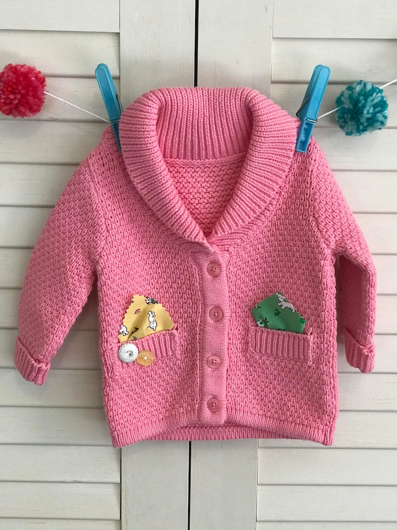 Baby Girl/'s Pink Infant Button Up Cardigan with Upcycled patchwork pockets and vintage buttons Easter Spring Clothing Size 3-6 Months