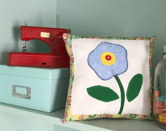 Appliqued Spring flower pillow whimsical decor ~girl's bedroom~nursery~tuck on a shelf~give as a gift~