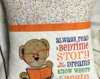 Reading Pillow, Pocket Pillow, Young Reader, Book Pillow, girl, Children, Reader, Books, Birthday Gift, Baby Gift, Embroidered, Handmade