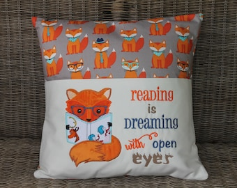 Reading Pillow, Pocket Pillow, Young Reader, Book Pillow, Fox, Children, Reader, Books, Birthday Gift, Baby Gift, Embroidered, Handmade