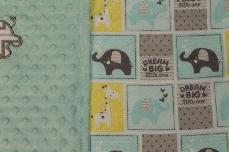 Elephant Baby Shower Baby Gift Baby Blanket embroidered Dream Big Personalized Baby Blanket Handmade Burp Cloth
