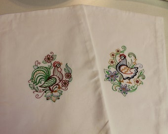 Embroidered Kitchen Towel, Flour Sack Towels, Flour Sack, Chicken, Hen, Rooster, Embroidered towel, Handmade, Vintage, Embroidered Gift