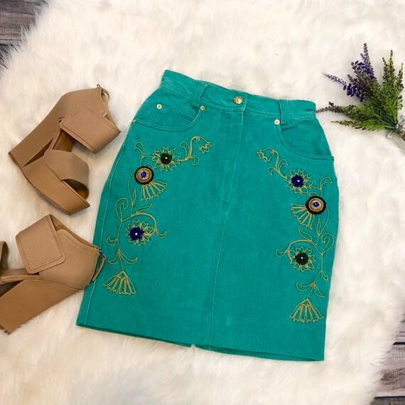 Vintage 80s Mondi Denim Jean Skirt ~ Beaded/ Embro