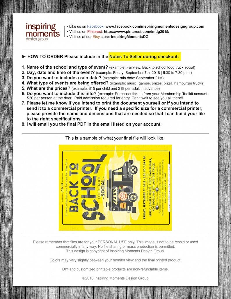 School Flyer PTA PTN Fundraiser Back To School Food Truck Social Event Flyer Printable Handout 8.5x11 Flyer Design Business