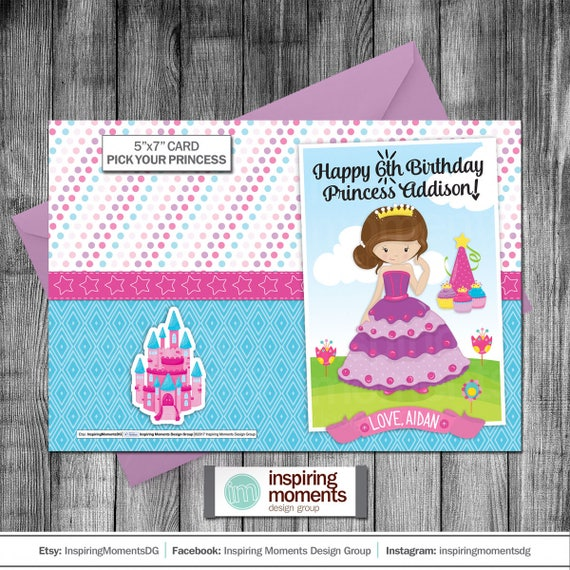 Princess Birthday Card Personalized Happy
