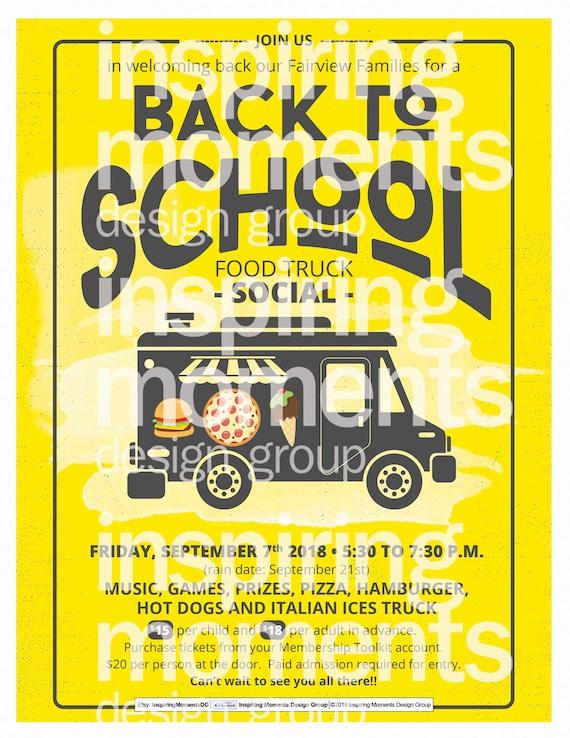 PTA Business Flyer Design PTN Handout 8.5x11 Fundraiser School Flyer Back To School Food Truck Social Event Flyer Printable