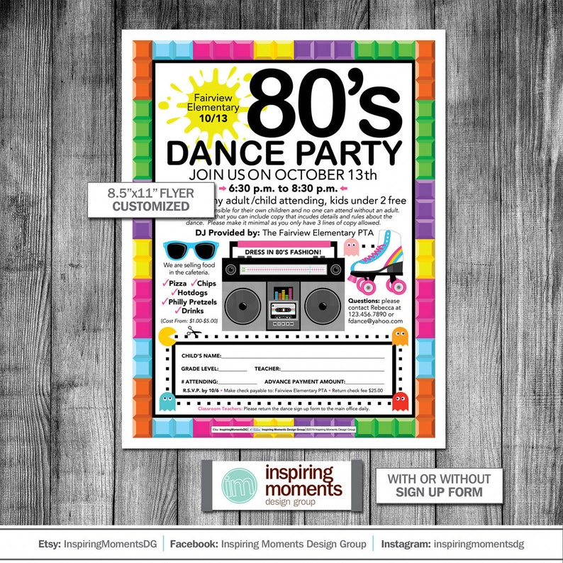 Dance Party Event Flyer Printable | 80s Theme | 90s | PTA | PTN | School  Flyer | Education | Teacher | Flyer Design | Handout | 8 5