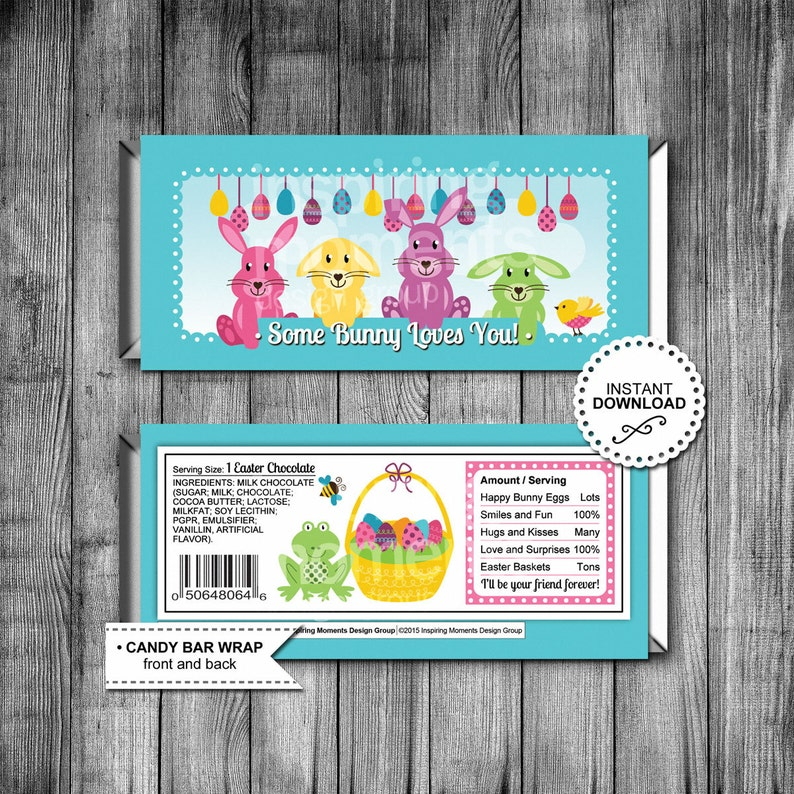 image regarding Printable Hershey Bar Wrappers named Bunny Easter Sweet Bar Wrappers Printable Hershey Bar Wrapper Want Tags Clroom Presents Down load Easter Present Easter Bunny