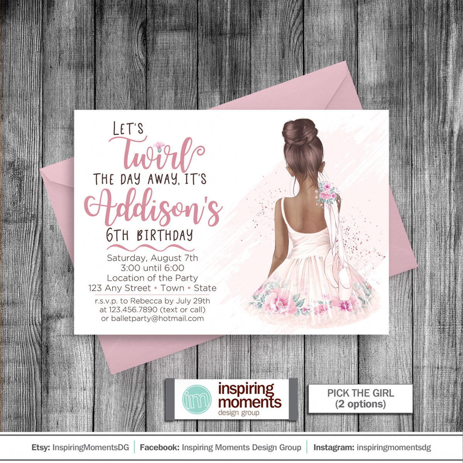 ballerina invitation | watercolor ballet | girls birthday invite | tutu | ballet shoes | pink | 5x7 | printable invitation | cus