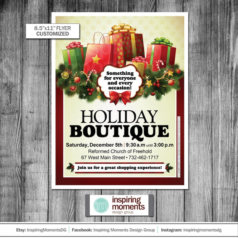 Shop Holiday Shopping School Flyer 8.5x11 Holiday Boutique Event Flyer Printable Church Flyer Design PTA Education PTN