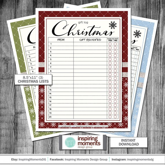 Christmas Lists.Christmas Lists Printable Planner Christmas Card List Gift List To Buy Gift Log Flyer Design Handout 8 5 X11 Download