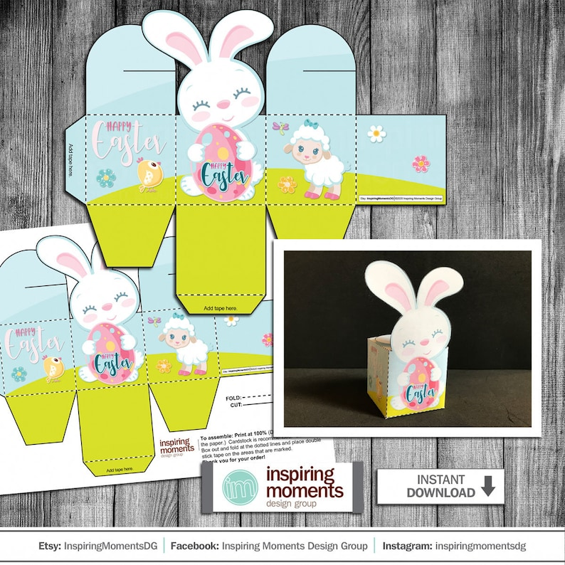 Easter Placecard Favor Easy To Cut And Assemble Template Printable Instant Download Easter Easter Bunny Box DIY 3D