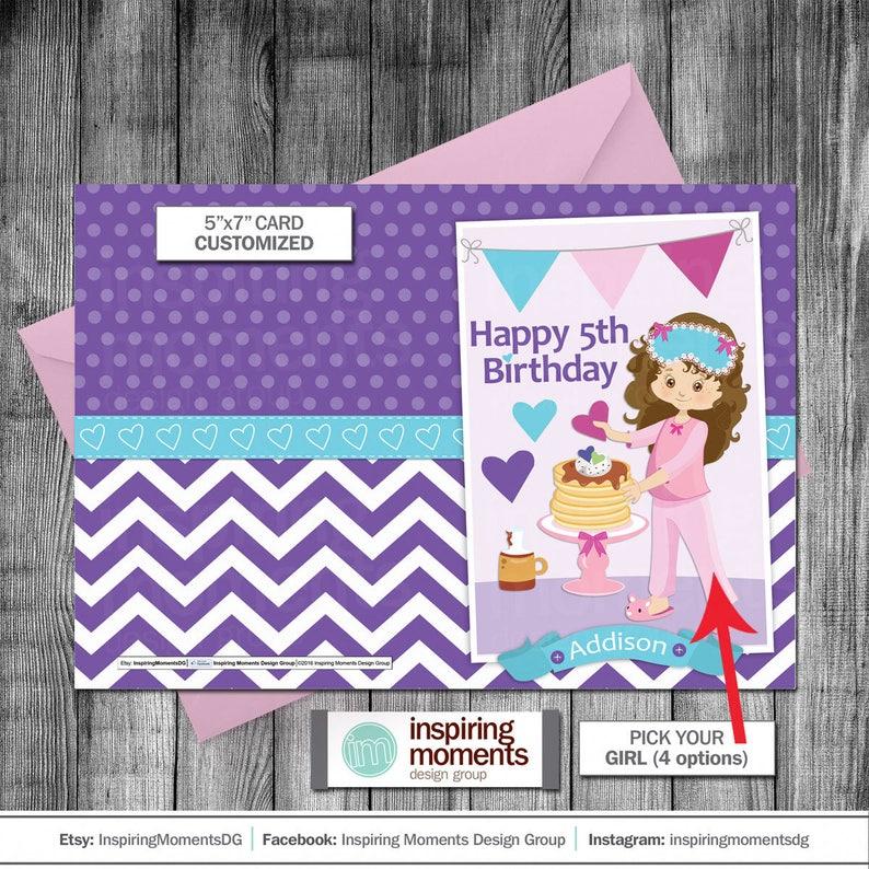 Pancakes And Pajamas Birthday Card Sleepover Breakfast
