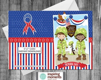 Memorial Day Card | Patriotic | Military | Army | Marines | Navy | Air Force | Greeting Card | Notecard |  | Printable | Instant Download