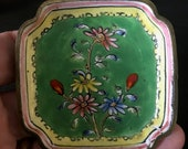 Antique Chinese Canton Enamel Trinket Dish With Flowers