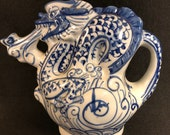 Vintage Chinese Blue and White Dragon Teapot 6.5 quot