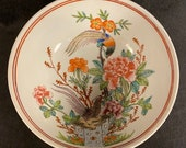 Vintage Japanese Porcelain Round Bowl with Flowers And Phoenixes 8 quot