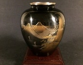 Vintage Japanese Mixed Metal Alloy Small Vase with Landscape