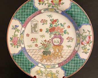 2 x Chinese 9.45 Macau Macao Vintage Famille Rose Plates with Princess Palace Garden Scenes
