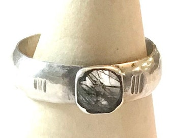 Simple Ring with Square Black Rutilated Quartz/Size 10/Sterling/Handmade/rutile/quartz/Southwest/Artisan made/Free Shipping in US