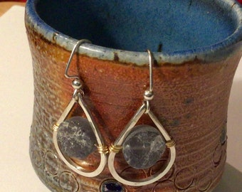 Iolite in Argentium Sterling Silver Square Wire Teardrop dangle earrings with gold wire accents on Argentium sterling silver ear wires