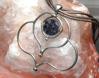 Wire Fan with Iolite on Leather Necklace / Dream Follower/ Iolite/ Casual/ Dressy/Artisan Made / Silver / Argentium / Pendant/ Leather