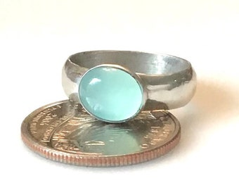 Simple Ring with Chalcedony / Size 7.75 / Sterling / Chalcedony/Calm/Beach/Peace/Serenity/Recycled Silver/ Free Shipping in US