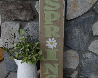 Hello Spring sign. 6x26 Hand painted wood sign/Vertical Spring sign/ Easter decor/ Front door sign/ Outside spring sign/ Outdoor Easter sign