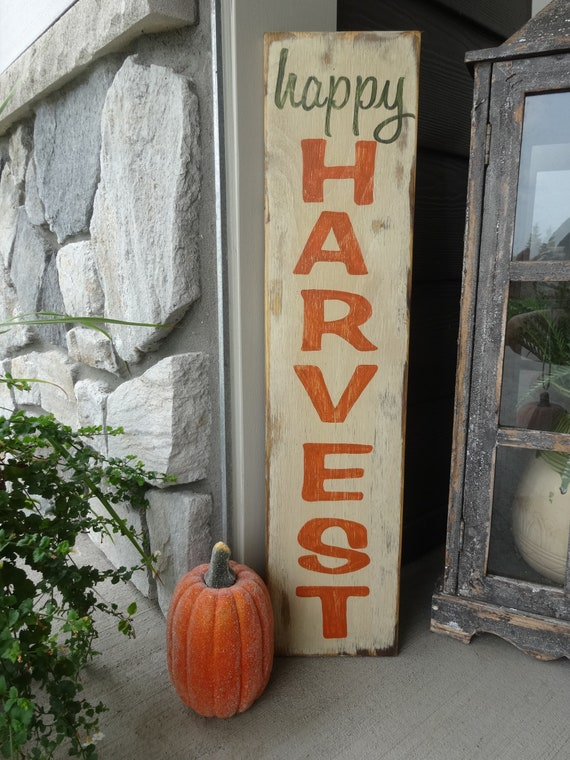 Harvest Sign On Barnwood For Fall Front Porch Decor: Happy Harvest Sign. Harvest Wood Sign/ Fall Sign/ Autumn