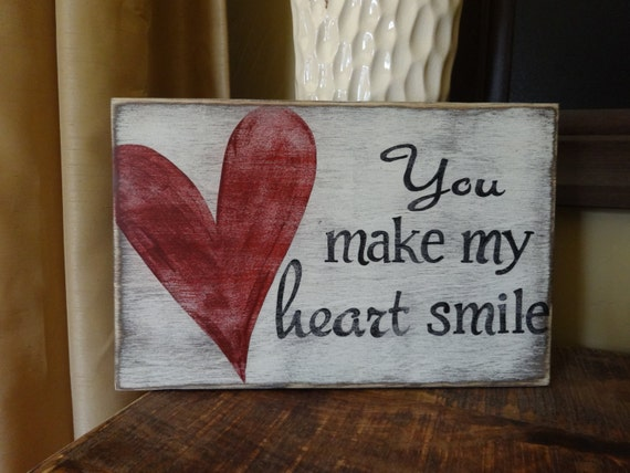 Heart Smile Sign Valentine Day Wood Sign Valentine Signs Etsy