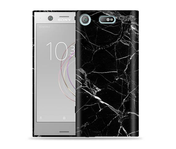 the latest 98068 4b4fb Sony Xperia XZ1 Compact Case - Sony Xperia G8441 Case #Black Marble Cool  Design Hard Phone Cover,Anniversary Gift,Birthday's