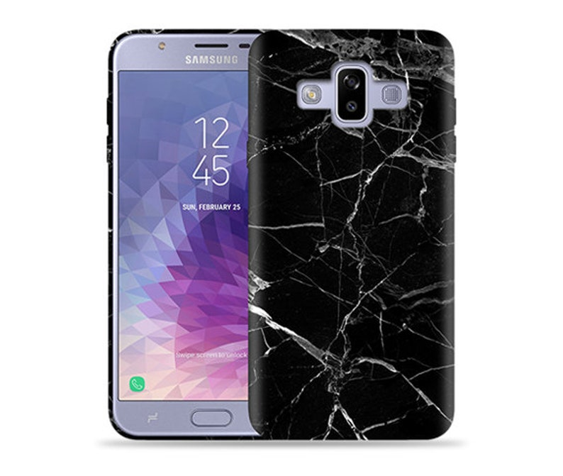 cheap for discount 7f988 c1f59 For Samsung Galaxy J7 Duo 2018 Case / Galaxy J7 DUOS Case / Galaxy SM-J720M  Case #Black Marble Design Hard Phone Case,Anniversary Gift