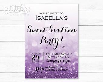 Sweet Sixteen Invitation Template Digital Sweet 16 Invitation Etsy