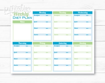 weekly diet planner pdf meal planner template printable menu planner instant download fitness planner food journal with calorie counter