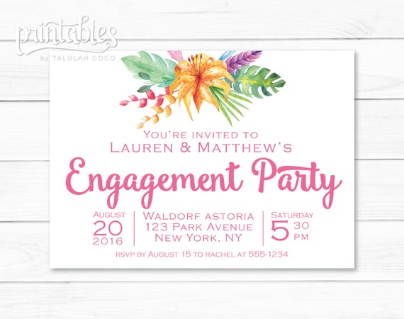 engagement party invitations hawaiian themed party floral etsy