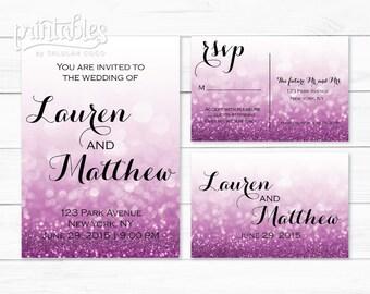 Printable Wedding Invitation Kit with RSVP Postcard, Glitter Invitation Set, Digital Invitation Package, Formal Wedding Invitation Template