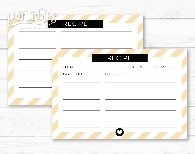 stripes recipe card printable digital recipe cards diy