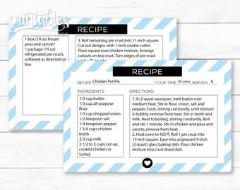 Recipe Card Customizable, Printable Recipe Cards, Editable PDF Recipe Card 4x6 Template, DIY Housewarming Gift, Simple Recipe Card Stripes