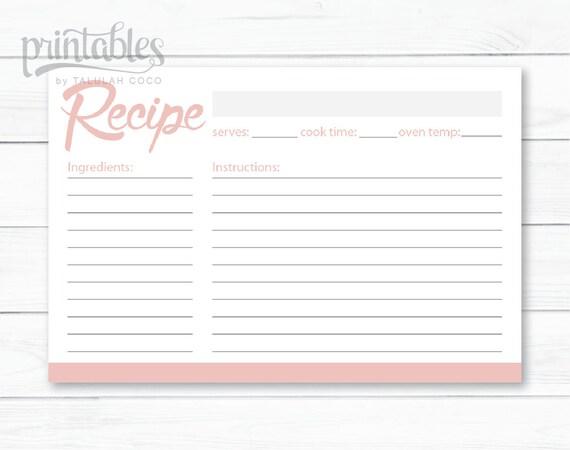 blush pink recipe cards editable recipe card simple recipe etsy
