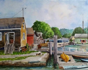 Mystic Seaport Boathouse Mystic CT Original Plein Air Watercolor Painting Framed or unframed Connecticut Coastal Art New England shoreline