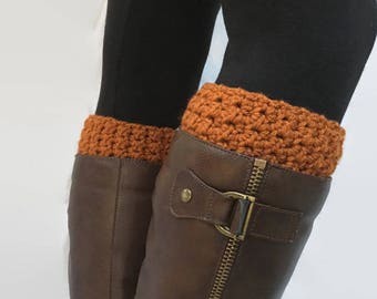 Pumpkin Orange Crochet Boot Cuffs, Boot Toppers, Boot Socks, Reversible Boot Cuffs, Faux Leg Warmers, Fall Fashion, Stocking Stuffers