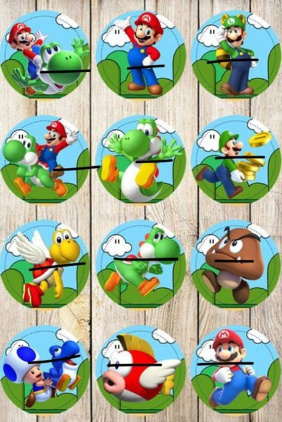 24 Super Mario Bros Cupcakes Toppers Instant Download Etsy