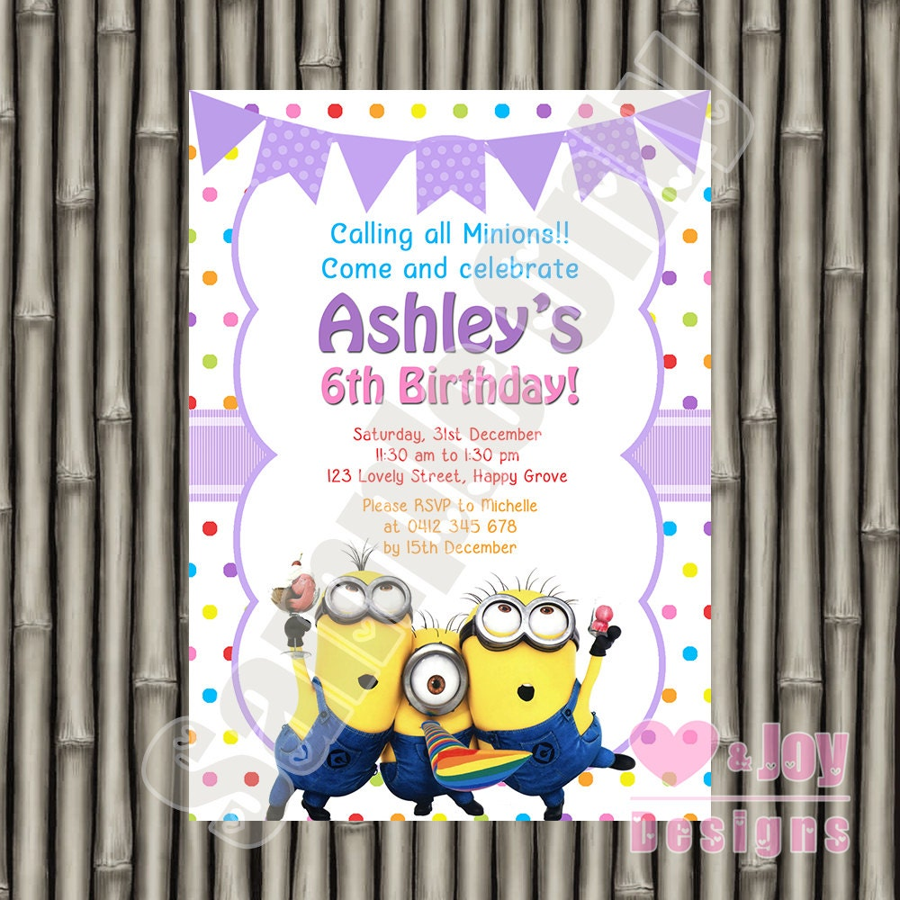 Minions Invitation Minion Invite Minion Invitation Minion | Etsy