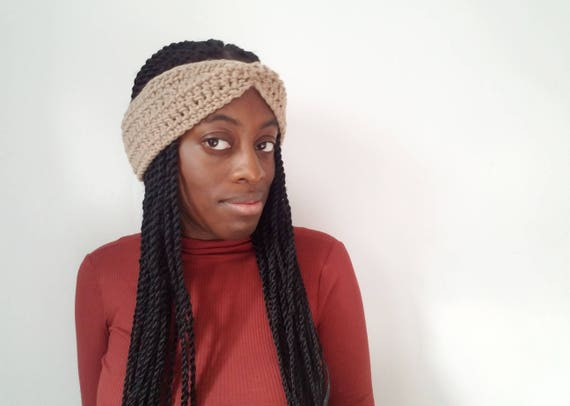 Crochet Winter Headband - Soft Taupe - Crochet Ear Warmer - Gift for Her - Turban Ear Warmer - Gifts  for Girlfriend - Turban Headband Women