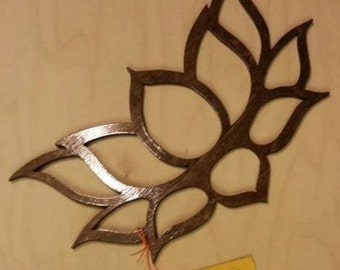Laser cut wood Wall Art - Lotus Flower 11 x7