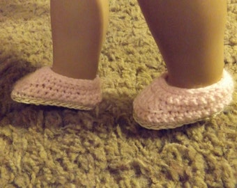 "18"" Doll Shoes, American Girl Doll Shoes, Crocheted Doll Shoes, AG Doll Shoes, Pink Doll Shoes"