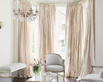 IVORY SILK curtain, taffeta silk, window dressing, draping, home decor, interior decor, window treatment, cream, eggshell, alabaster