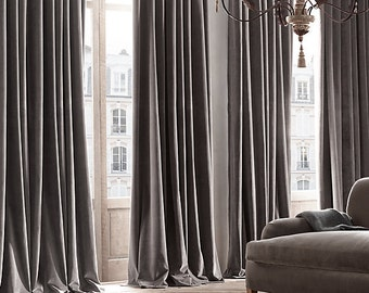 GRAY FAUX VELVET Curtains Grey Velvet Draping Home Decor Interior Window Treatment Charcoal Ash Pewter Graphite