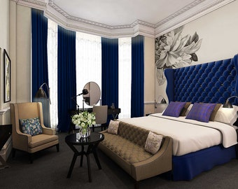 SAPPHIRE BLUE Royal Velvet Curtains, Velvet, Draping, Home Decor, Interior  Decor, Curtains, Window Treatment, Navy, Blue, Dark Blue, Indigo