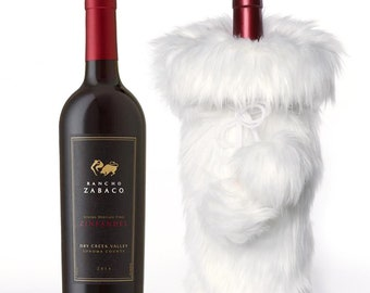 832368dc58fb White fur wine bottle bag